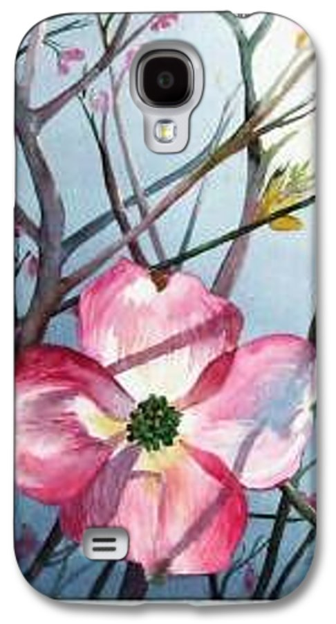 Dogwood Galaxy S4 Case featuring the painting Mom's Dogwood by Linda Marie Carroll