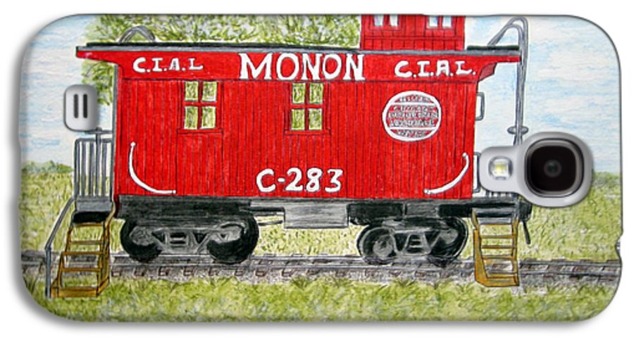Monon Galaxy S4 Case featuring the painting Monon Wood Caboose Train C 283 1950s by Kathy Marrs Chandler