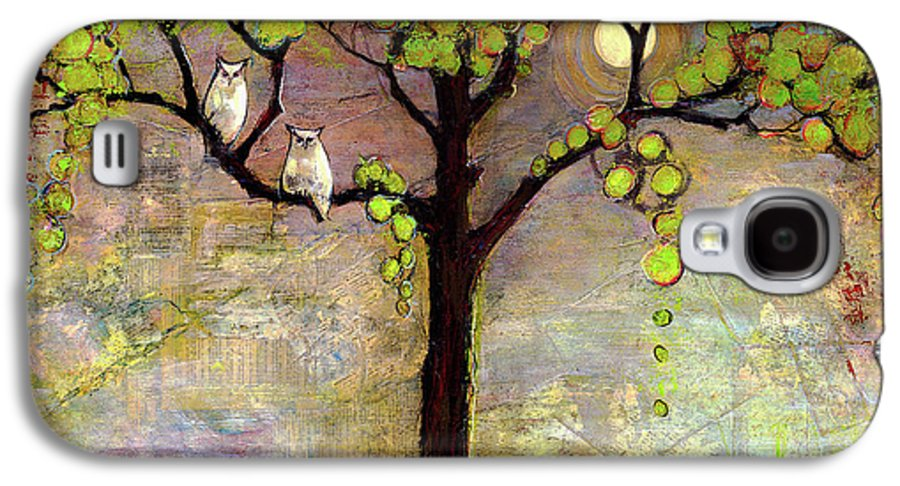Paintings Galaxy S4 Case featuring the painting Moon River Tree Owls Art by Blenda Studio
