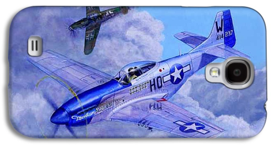 Capt Bill Wisner Shoots Down Two Bf-109s On November 2nd 1944 Galaxy S4 Case featuring the painting Moonbeam Mcswine by Scott Robertson