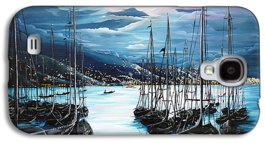Ocean Painting  Caribbean Seascape Painting Moonlight Painting Yachts Painting Marina Moonlight Port Of Spain Trinidad And Tobago Painting Greeting Card Painting Galaxy S4 Case featuring the painting Moonlight Over Port Of Spain by Karin Dawn Kelshall- Best
