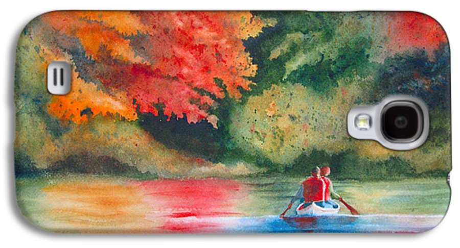 Lake Galaxy S4 Case featuring the painting Morning On The Lake by Karen Stark