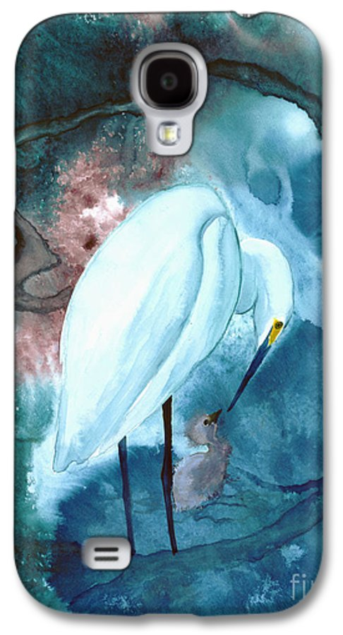 A Mother Egret With Her Chick- A Watercolor Painting Galaxy S4 Case featuring the painting Mother And Child by Mui-Joo Wee