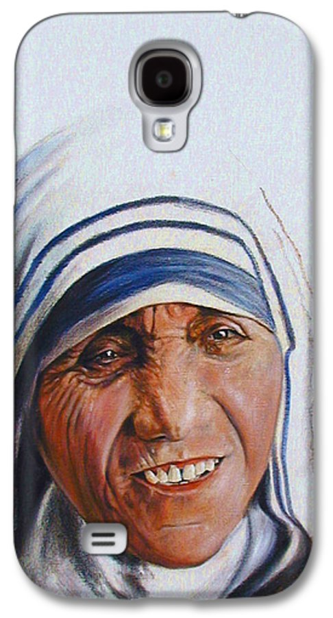 Mother Teresa Galaxy S4 Case featuring the painting Mother Teresa by John Lautermilch