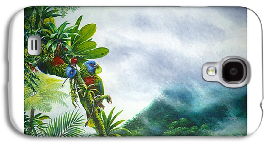Chris Cox Galaxy S4 Case featuring the painting Mountain High - St. Lucia Parrots by Christopher Cox