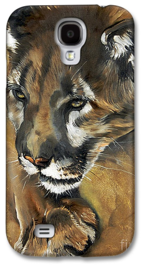 Southwest Art Galaxy S4 Case featuring the painting Mountain Lion - Guardian Of The North by J W Baker