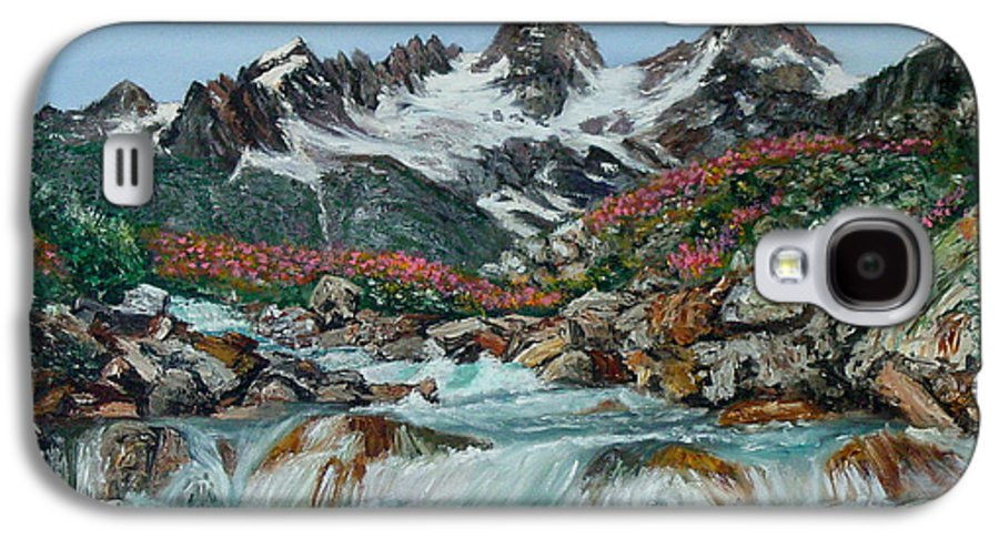 Mountain Galaxy S4 Case featuring the painting Mountain Stream by Quwatha Valentine