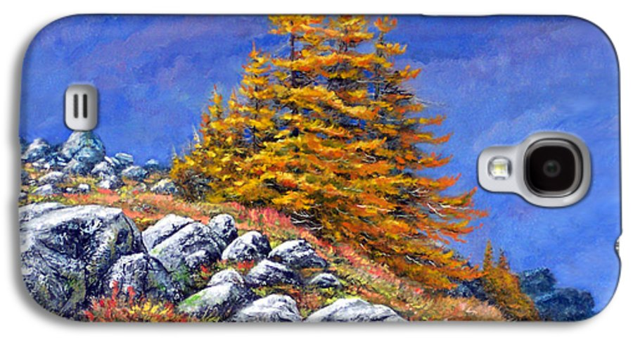 Mountains Galaxy S4 Case featuring the painting Mountain Tamaracks by Frank Wilson