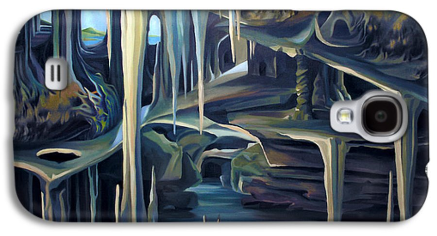 Mural Galaxy S4 Case featuring the painting Mural Ice Monks In November by Nancy Griswold