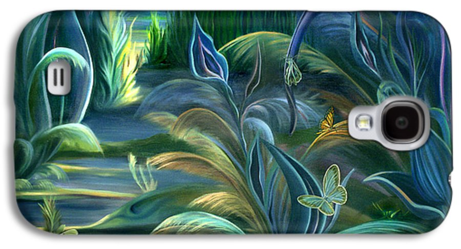 Mural Galaxy S4 Case featuring the painting Mural Insects Of Enchanted Stream by Nancy Griswold
