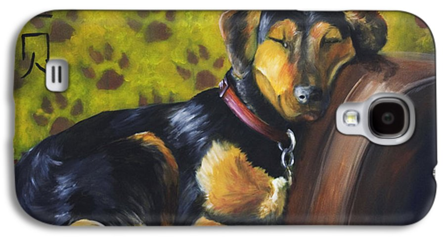Dog Galaxy S4 Case featuring the painting Murphy Vi Sleeping by Nik Helbig