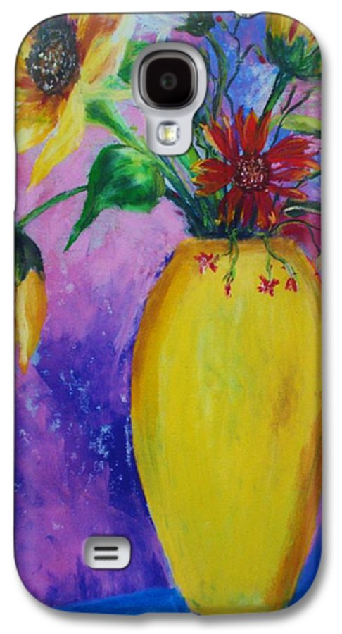 Sunflowers Galaxy S4 Case featuring the painting My Flowers by Melinda Etzold