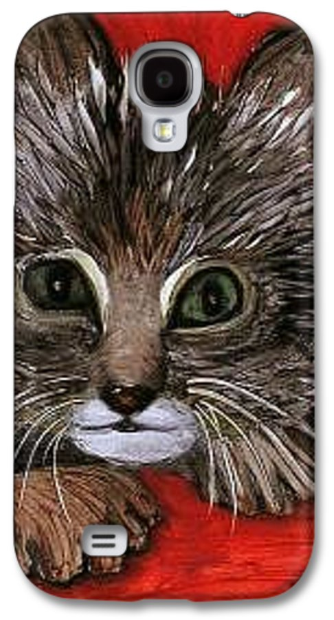 Very Curious And Beautiful Kittie Cat Galaxy S4 Case featuring the painting My Kittie Cat by Pilar Martinez-Byrne