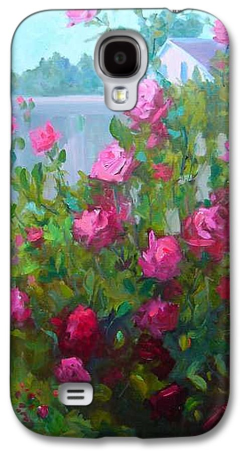 Climing Red Roses On Fence Galaxy S4 Case featuring the painting Myback Yard Roses by Patricia Kness