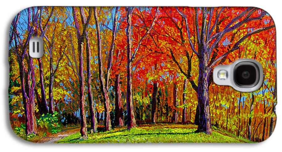 Trees Autumn Hill Grass Sunshine Shadows Sky Colors Path Galaxy S4 Case featuring the painting Nashville North by Stan Hamilton