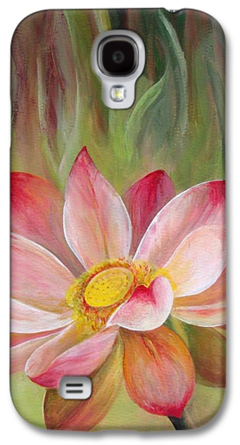 Flower Galaxy S4 Case featuring the painting Nenuphar by Muriel Dolemieux