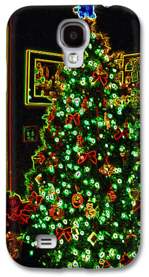 Christmas Galaxy S4 Case featuring the photograph Neon Christmas Tree by Nancy Mueller