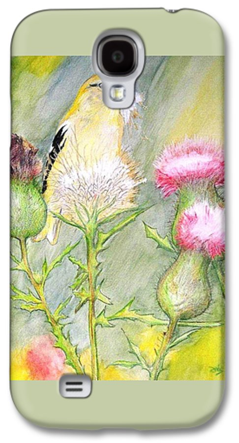 Goldfinch Galaxy S4 Case featuring the painting Nest Fluff by Debra Sandstrom