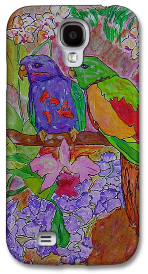 Tropical Pair Birds Parrots Original Illustration Leilaatkinson Galaxy S4 Case featuring the painting Nesting by Leila Atkinson