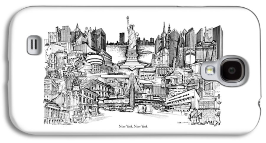 City Drawing Galaxy S4 Case featuring the drawing New York by Dennis Bivens