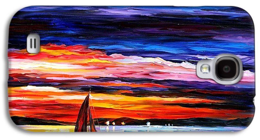 Seascape Galaxy S4 Case featuring the painting Night Sea by Leonid Afremov