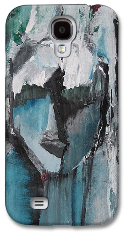 Abstract Acrylic Blue Darkestartist Nobody Portrait Darkest Artist Face Galaxy S4 Case featuring the painting Nobody by Darkest Artist