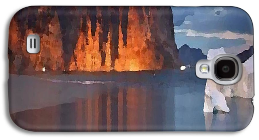 North.rock.iceberg.sea.sky.clouds.cold.landscape.nature.rest.silence Galaxy S4 Case featuring the digital art North Silence by Dr Loifer Vladimir