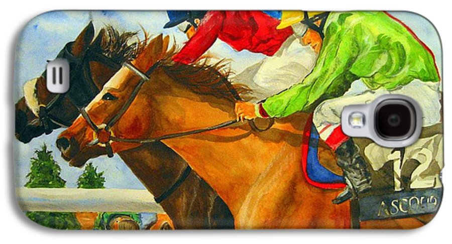 Horse Galaxy S4 Case featuring the painting Nose To Nose by Jean Blackmer
