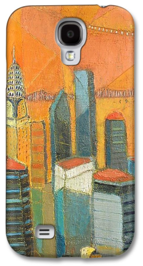 Galaxy S4 Case featuring the painting Nyc In Orange by Habib Ayat