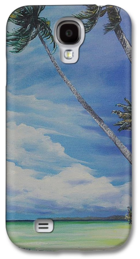 Ocean Painting Seascape Painting Beach Painting Palm Tree Painting Clouds Painting Tobago Painting Caribbean Painting Sea Beach T Obago Palm Trees Galaxy S4 Case featuring the painting Nylon Pool Tobago. by Karin Dawn Kelshall- Best