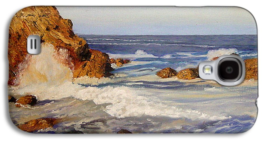 Seascape Galaxy S4 Case featuring the painting Ocean Rock by Quwatha Valentine