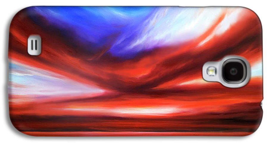 Sunrise; Sunset; Power; Glory; Cloudscape; Skyscape; Purple; Red; Blue; Stunning; Landscape; James C. Hill; James Christopher Hill; Jameshillgallery.com; Ocean; Lakes; Storm; Tornado; Lightning Galaxy S4 Case featuring the painting October Sky V by James Christopher Hill