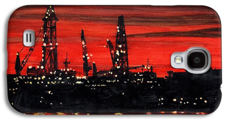 Cityscape Galaxy S4 Case featuring the painting Oil Rigs Night Construction Portland Harbor by Dominic White