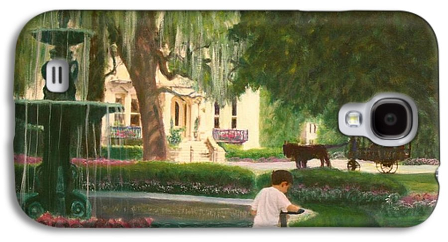 Savannah; Fountain; Child; House Galaxy S4 Case featuring the painting Old And Young Of Savannah by Ben Kiger
