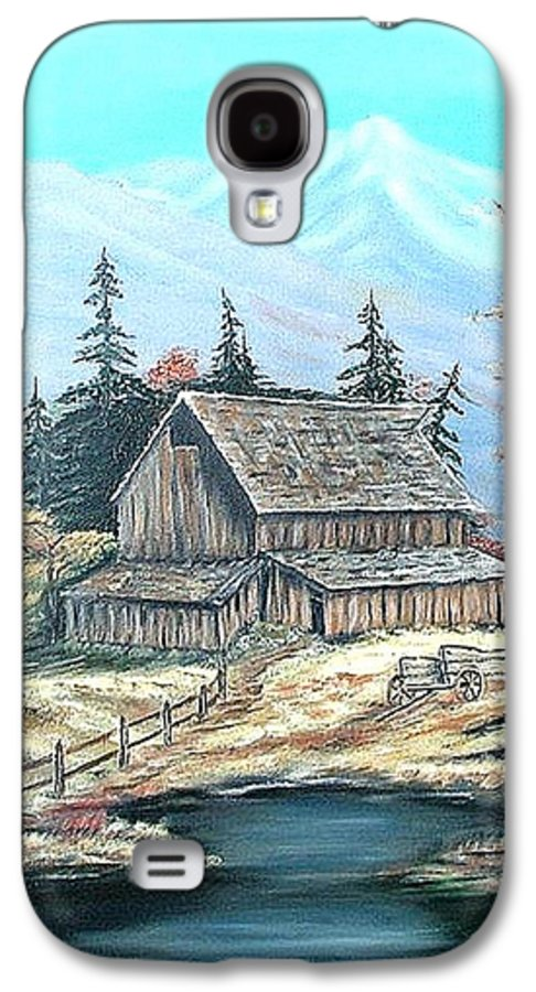Landscape Pond Wagon Old Trees Mountain Galaxy S4 Case featuring the painting Old Barn Above The Pond by Kenneth LePoidevin