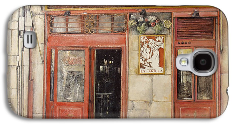 Cafe Galaxy S4 Case featuring the painting Old Cafe- Santander Spain by Tomas Castano