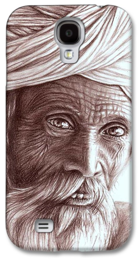 Man Galaxy S4 Case featuring the drawing Old Indian Man by Nicole Zeug