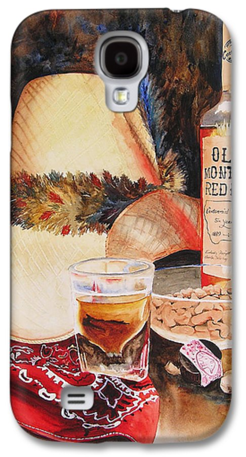 Whiskey Galaxy S4 Case featuring the painting Old Montana Red Eye by Karen Stark