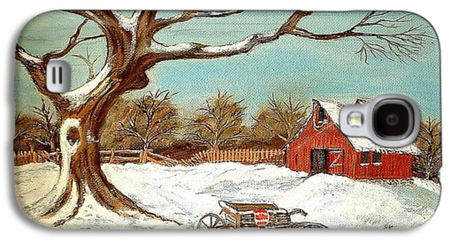 Old Tree Barn Wheelbarrow Snow Winter Painting Galaxy S4 Case featuring the painting Old Tree And Barn by Kenneth LePoidevin