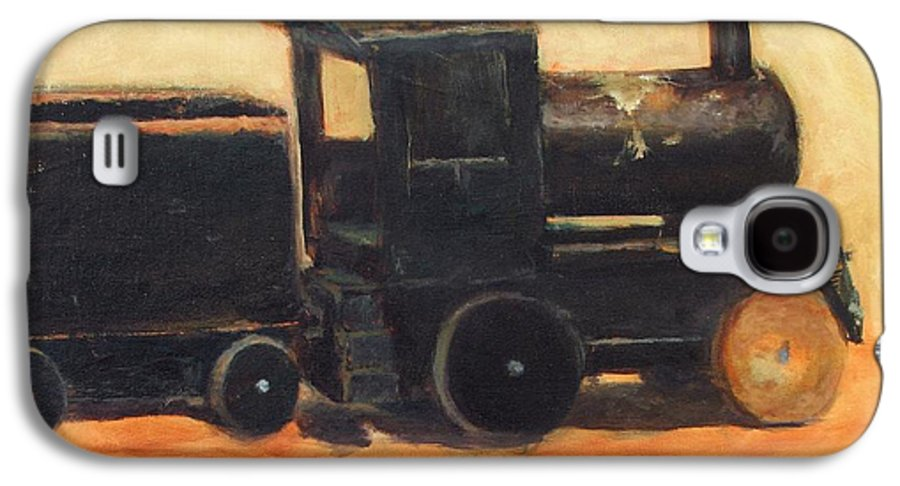Trains Galaxy S4 Case featuring the painting Old Wood Toy Train by Chris Neil Smith
