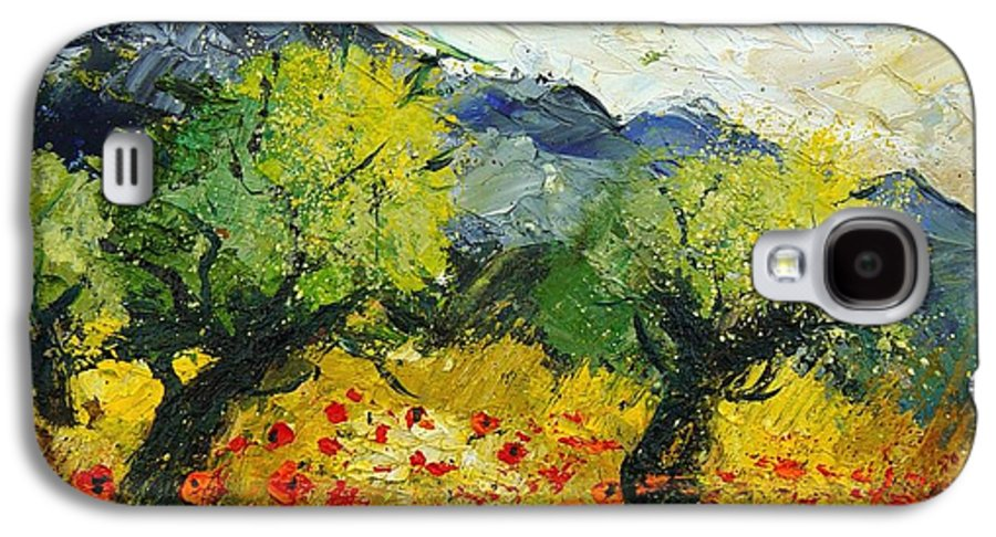 Flowers Galaxy S4 Case featuring the painting Olive Trees And Poppies by Pol Ledent