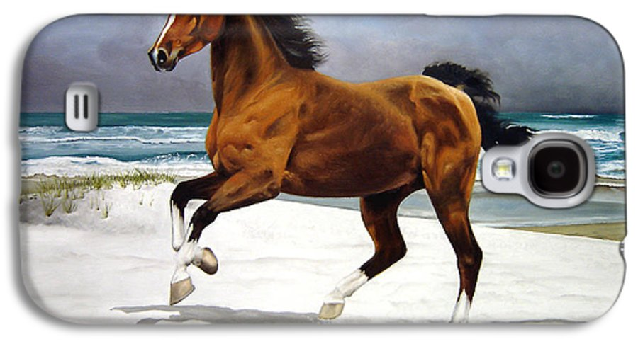 Horse Galaxy S4 Case featuring the painting On The Beach by Marc Stewart