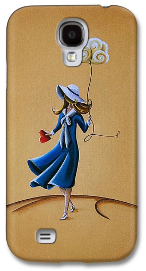 Girl Galaxy S4 Case featuring the painting On The Street Where You Live by Cindy Thornton