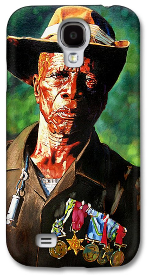 Black Soldier Galaxy S4 Case featuring the painting One Armed Soldier by John Lautermilch
