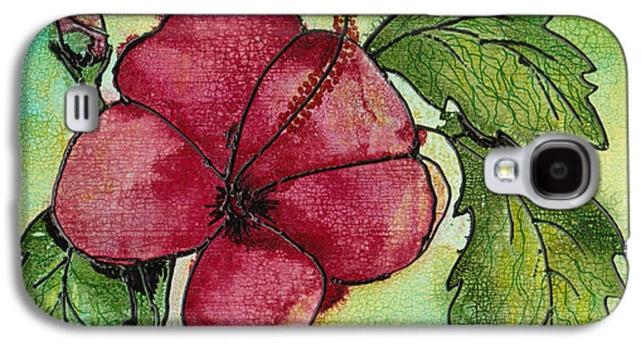 Flower Galaxy S4 Case featuring the painting One Pink Hibiscus by Susan Kubes