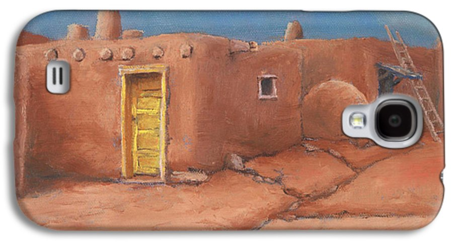 Taos Galaxy S4 Case featuring the painting One Yellow Door by Jerry McElroy
