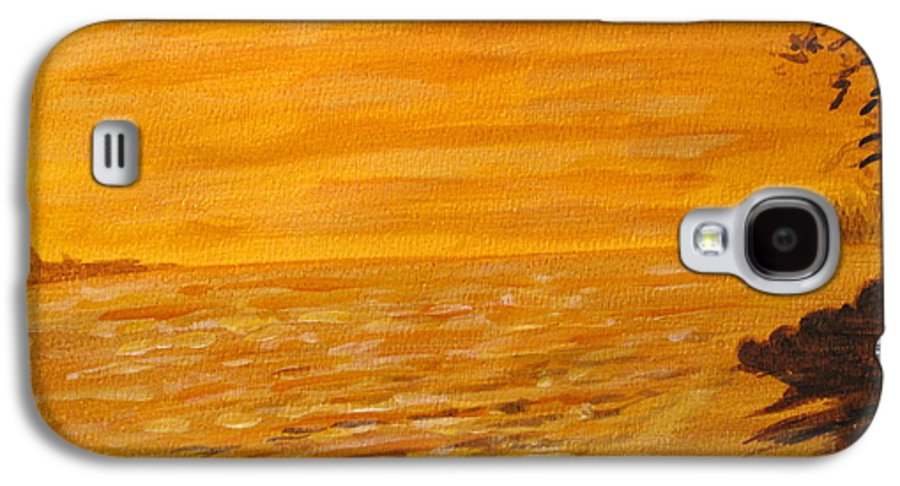 Ocean Galaxy S4 Case featuring the painting Orange Beach by Ian MacDonald
