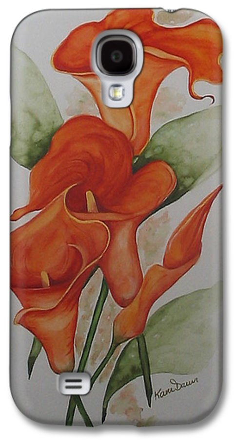 Floral Orange Lily Galaxy S4 Case featuring the painting Orange Callas by Karin Dawn Kelshall- Best