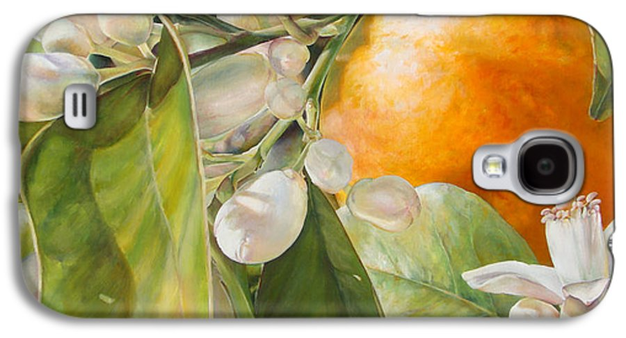 Floral Painting Galaxy S4 Case featuring the painting Orange Fleurie by Dolemieux