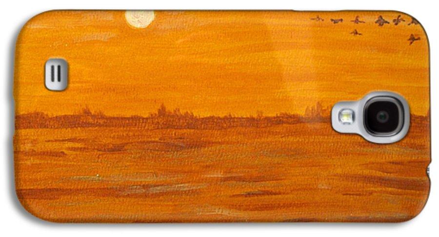 Orange Galaxy S4 Case featuring the painting Orange Ocean by Ian MacDonald
